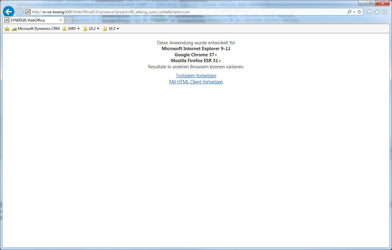 Warnmeldung bei einem nicht unterstützten Browser in WebOffice core