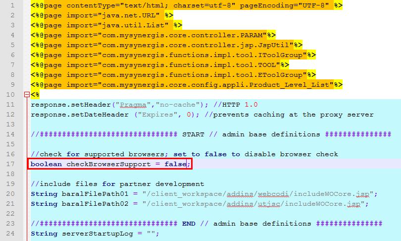Warnmeldung für nicht unterstützte Browser im WebOffice core Client deaktivieren