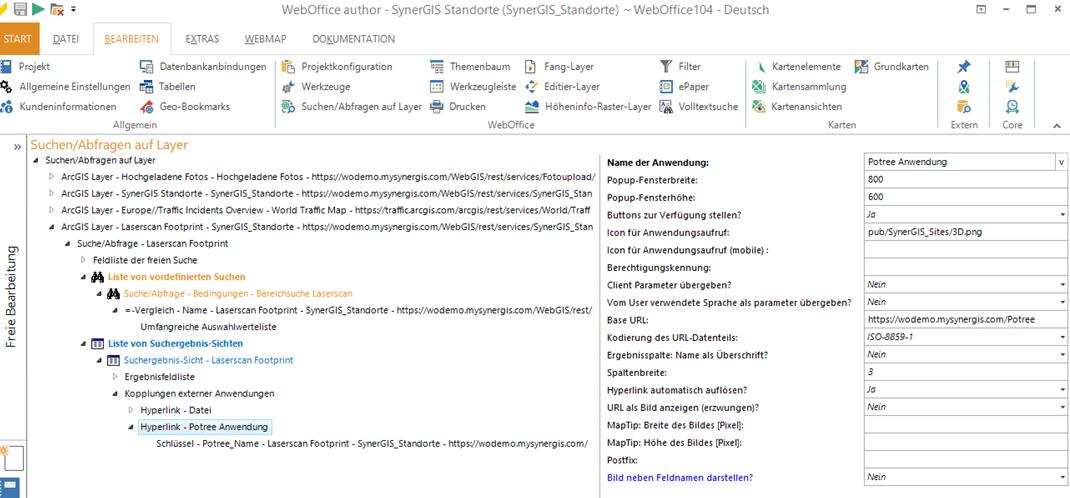 Einbindung von 3D Daten aus Potree in WebOffice 10.9 über externen Aufruf