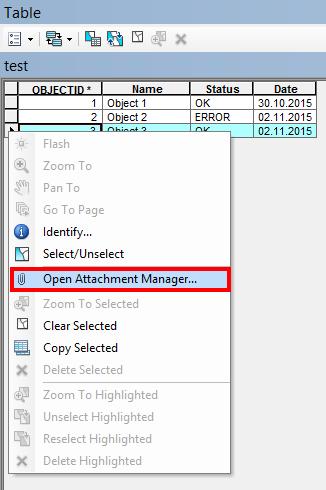 Anlagen Manager via Attribut-Tabelle