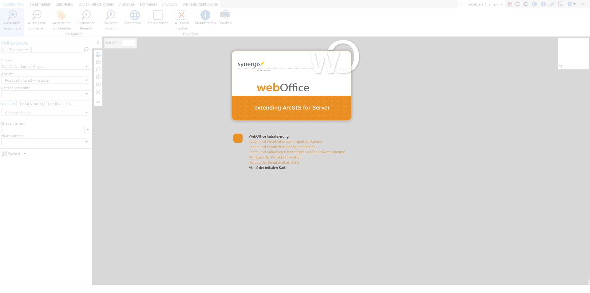 Benutzerdefinierte graue Hintergrundfarbe im Kartenbereich des WebOffice core Clients