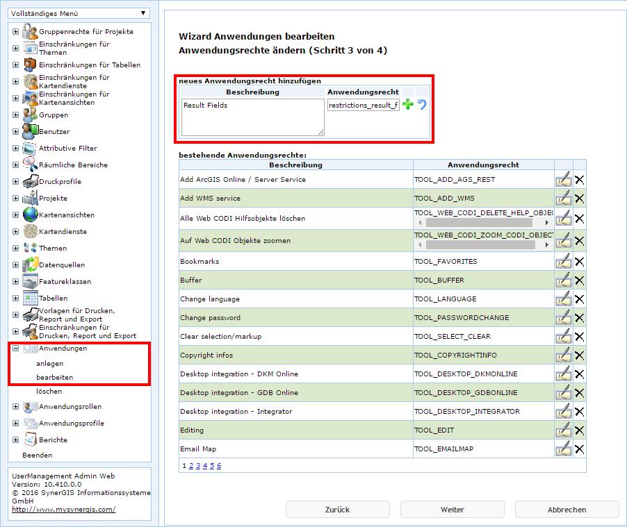 UserManagement Admin Web - Anwendungsrechte