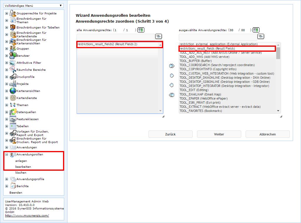 UserManagement Admin Web - Anwendungsrollen