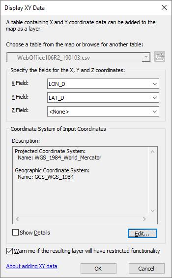 Layer mit passenden Koordinatensystem erstellen