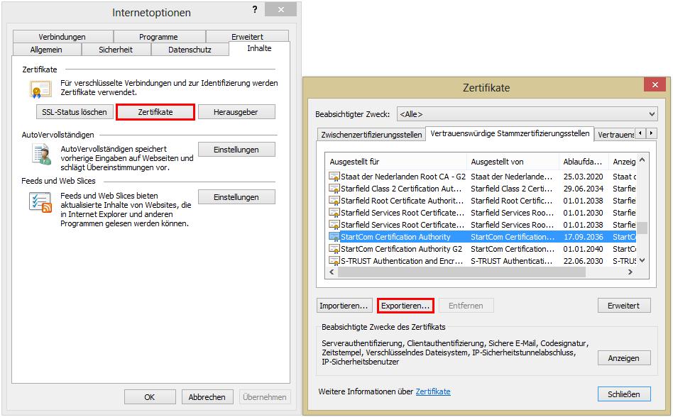 Zertifikat exportieren in Internet Explorer
