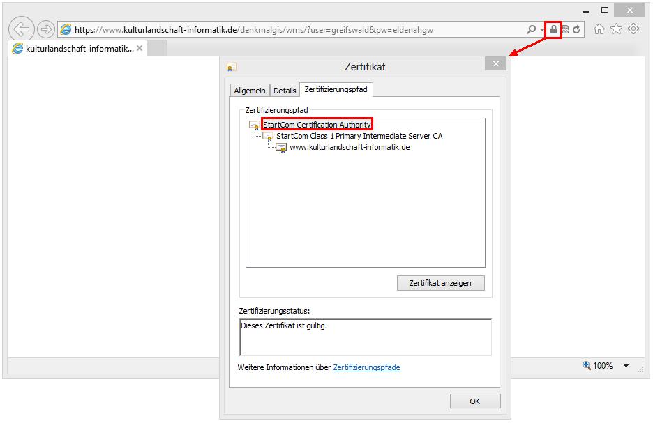 Zertifizierungspfad anzeigen im Internet Explorer