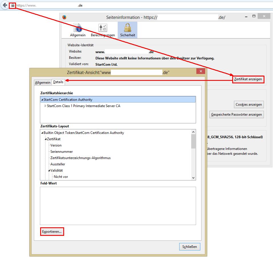 Zertifikat exportieren in Firefox