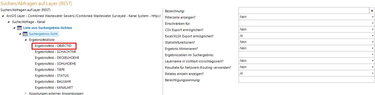 Suchergebnis-Sicht Konfiguration in WebOffice author mit den Parametern