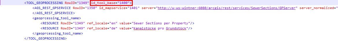 Geoprocessing Tool in der Projektkonfiguration (XML editor)