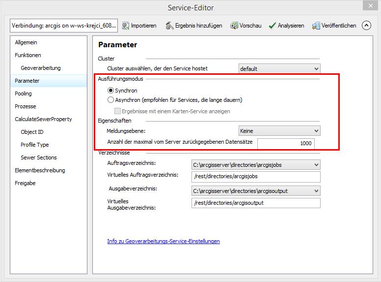 Parametereinstellungen im Service Editor