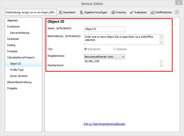 Geoprocessing Task Einstellungen im Service Editor
