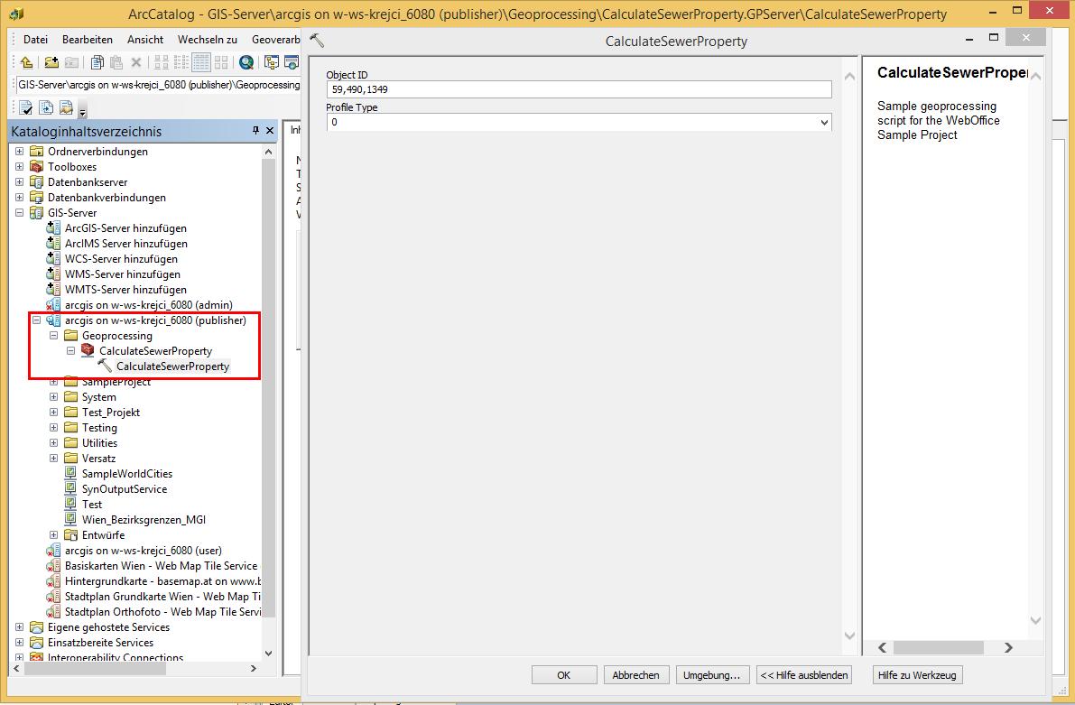 Ausführung des Geoprocessing Tasks in ArcGIS for Desktop