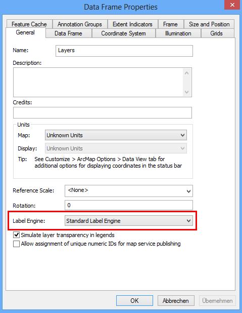 Label Engine am Datenrahmen im ArcMap