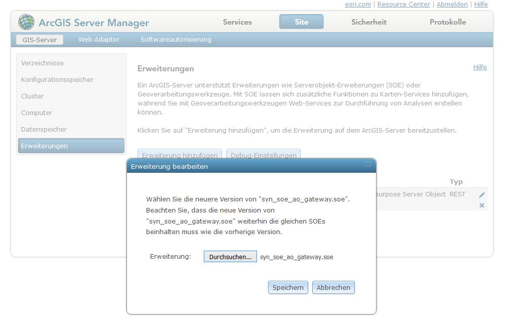 Aktualisierung der Server Object Extension über den ArcGIS Server Manager