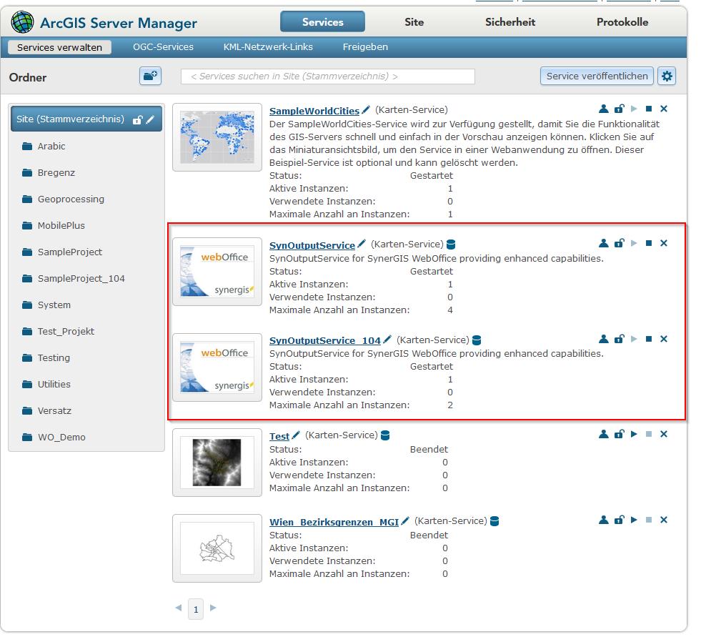Erstellung eines weiteren SynOutputService im ArcGIS Server Manager