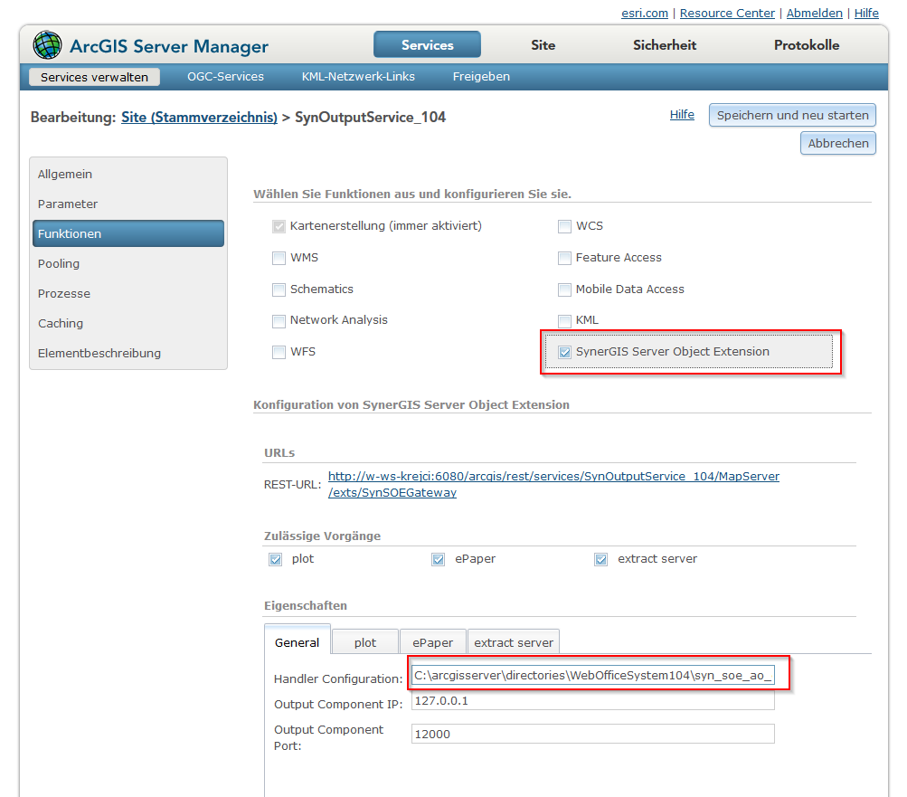 Anpassung der Handler configuration im ArcGIS Server Manager