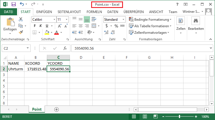 Speicherung der Excel-Tabelle als CSV Datei