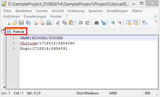 Speicherung der CSV Datei als TXT Datei mitihilfe eines Texteditors