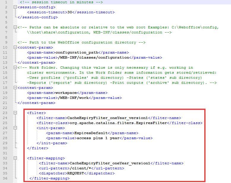Configuration within web_user.xml