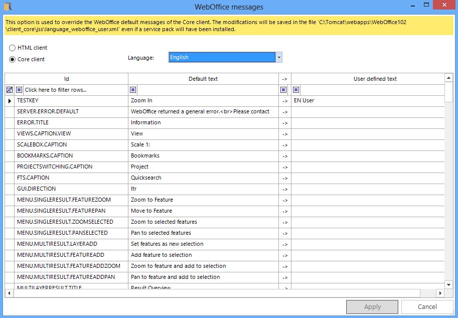 WebOffice WebOffice core client messages