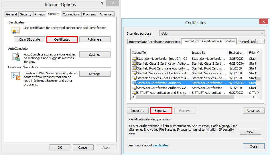 Export certificate in the Internet Explorer