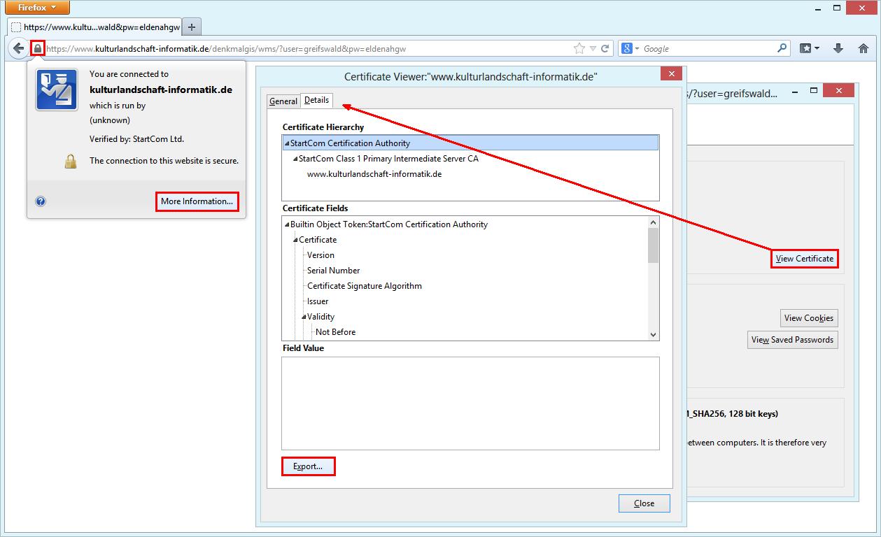 Export certificate in Firefox
