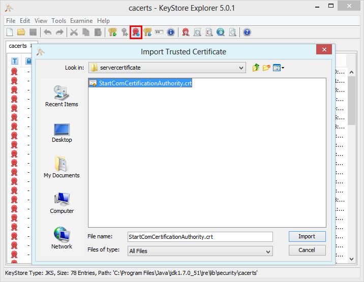 Import certificate in the truststore