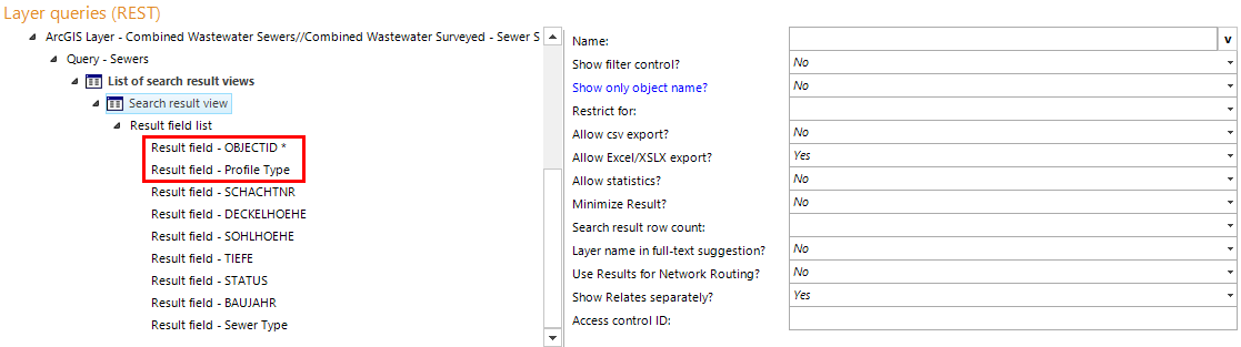 Search result view configuration in WebOffice author including two fields for parameters