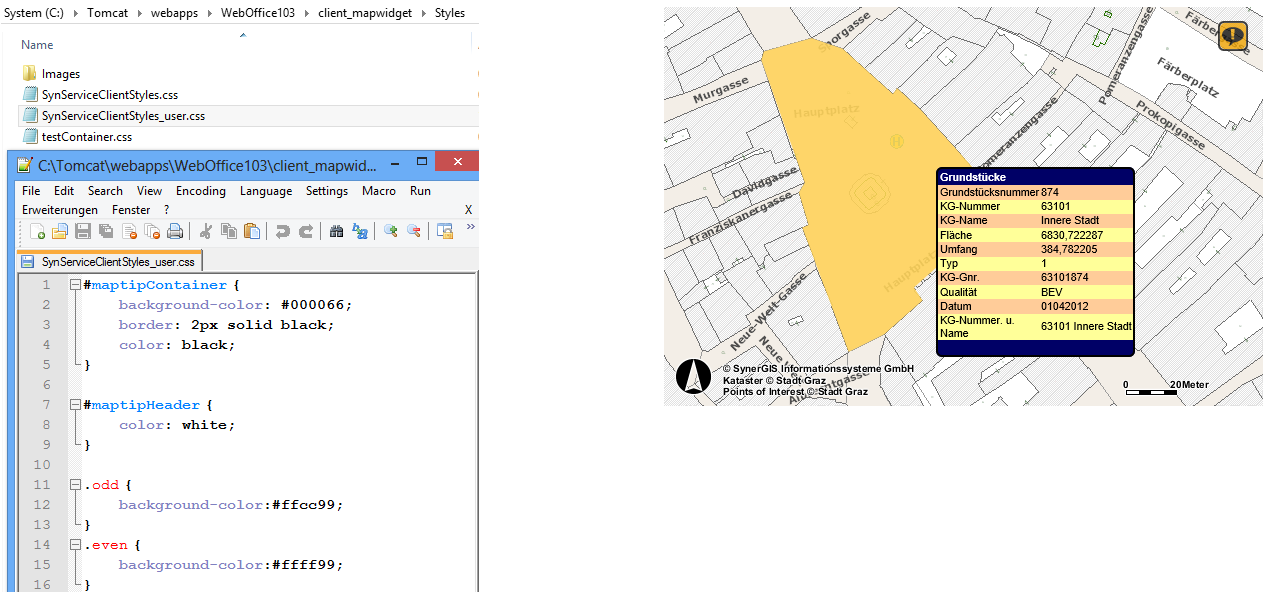 Changing the style of Maptip result in WebOffice map widget