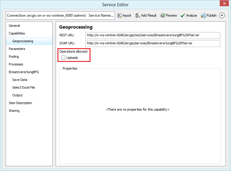 Geoprocessing settings in the service editor