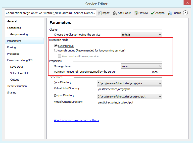 Parameter settings in the service editor