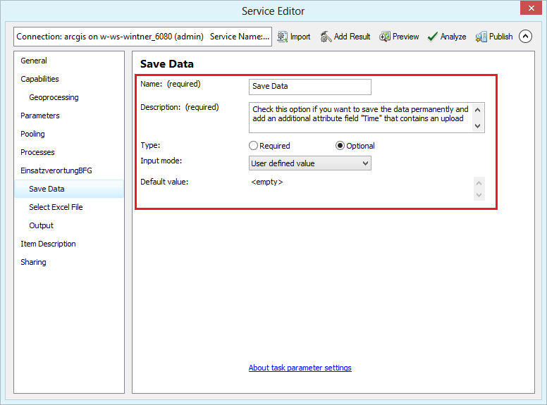 Geoprocessing task settings in the service editor