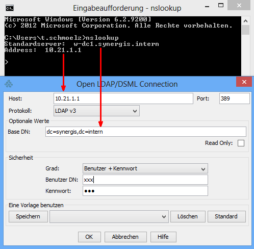 nslookup in command line