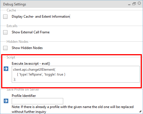 Settings within the debug console