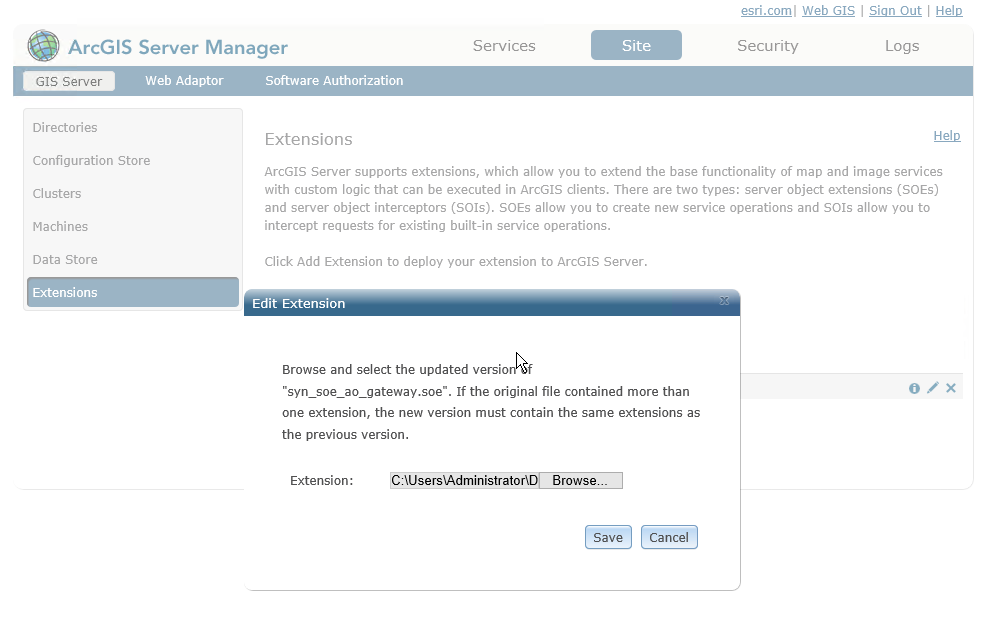 Updating the Server Object Extension via ArcGIS Server Manager