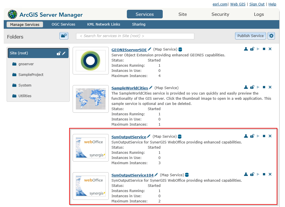 Creation of another SynOutputService in ArcGIS Server Manager