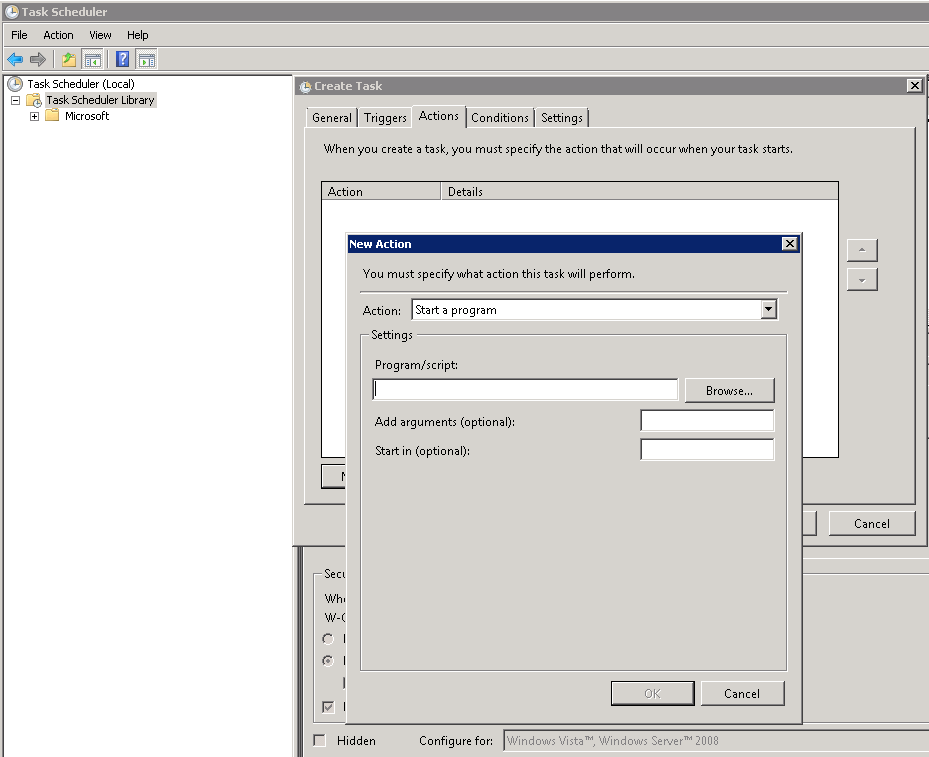 Automatic task in the windows task scheduler