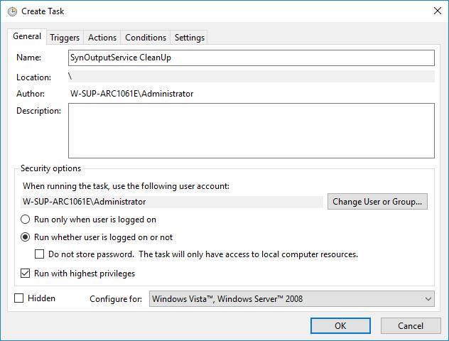 Create a new task - general settings