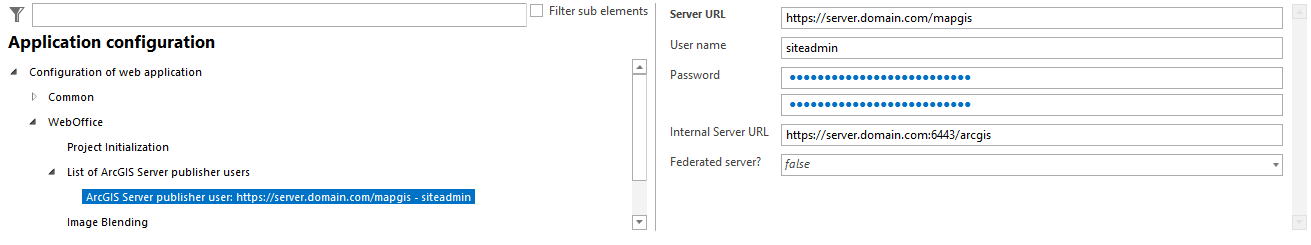 """Example of an administrative ArcGIS Publisher login information. User name """"siteadmin"""" has administrative access on the ArcGIS Admin GUI. Configuration of the internal Server URL using the suggested Web Adapter (""""mapgis"""" for example)"""