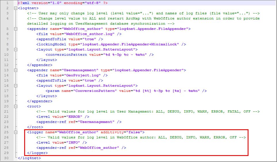 WebOffice_author-Log.config - Festlegen der Log Levels für WebOffice_author.log
