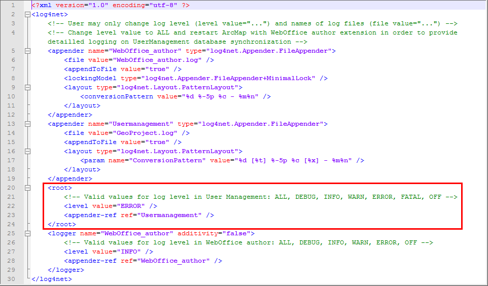 WebOffice_author-Log.config - Festlegen der Log Levels für GeoProject.log