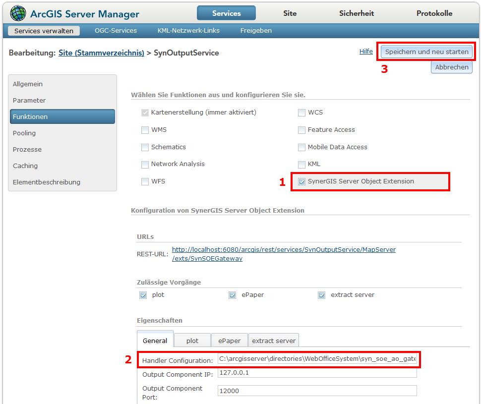 Überprüfung der SOE im ArcGIS Server Manager