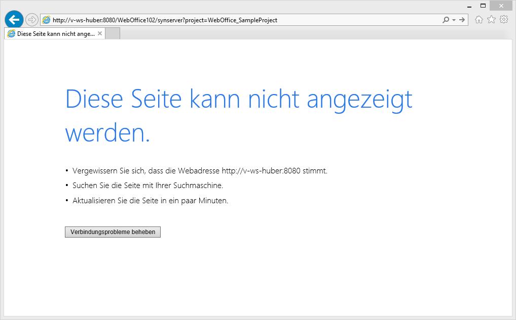 Browser kann nicht mit WebOffice 10.8 SP2 verbinden