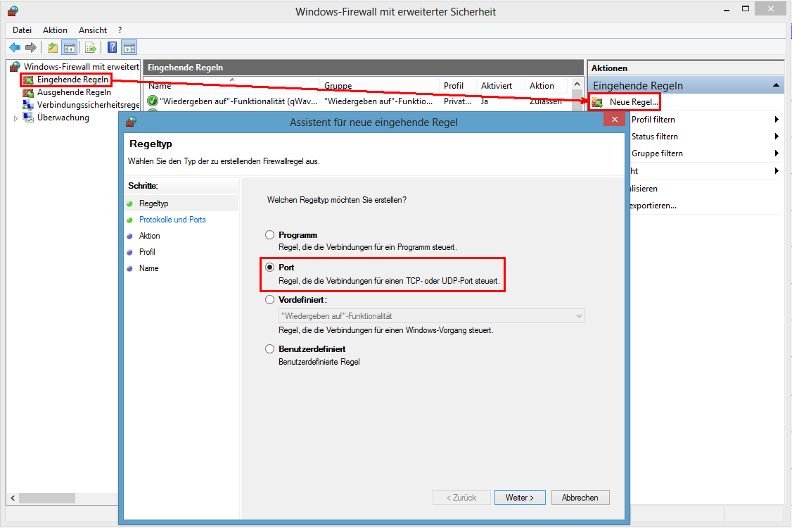 Windows Firewall mit erweiterter Sicherheit - Erstellen einer neuen eingehenden Regel