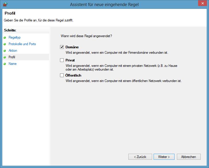 Windows Firewall mit erweiterter Sicherheit - Profil auswählen