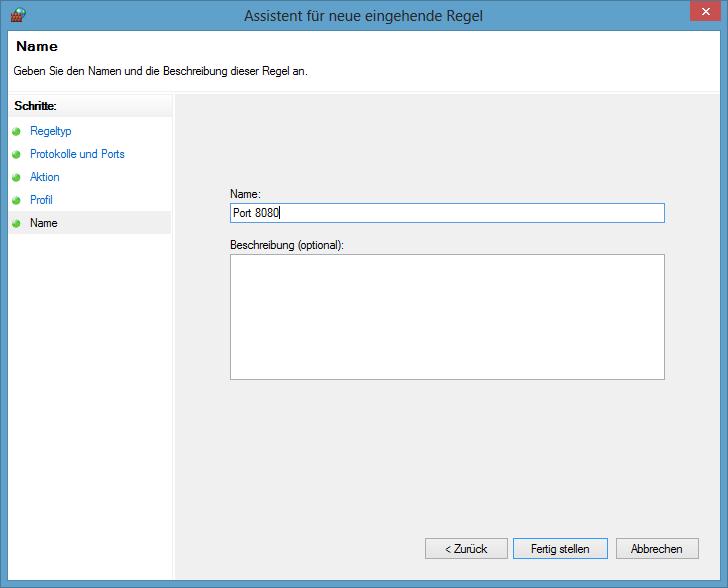 Windows Firewall mit erweiterter Sicherheit - Name vergeben