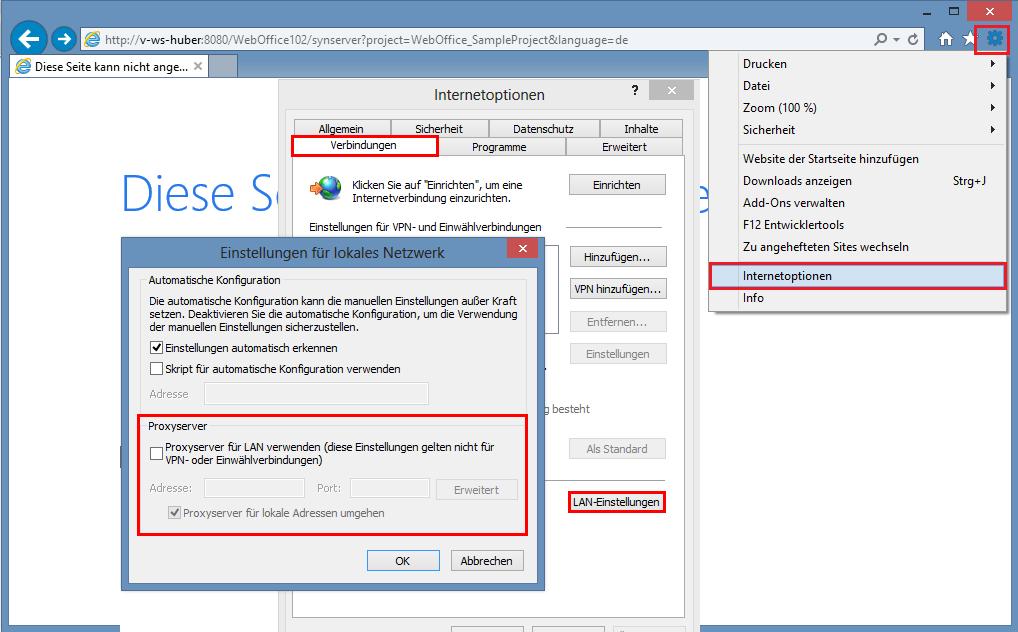 Konfiguration der Proxyserver-Einstellungen in Internet Explorer