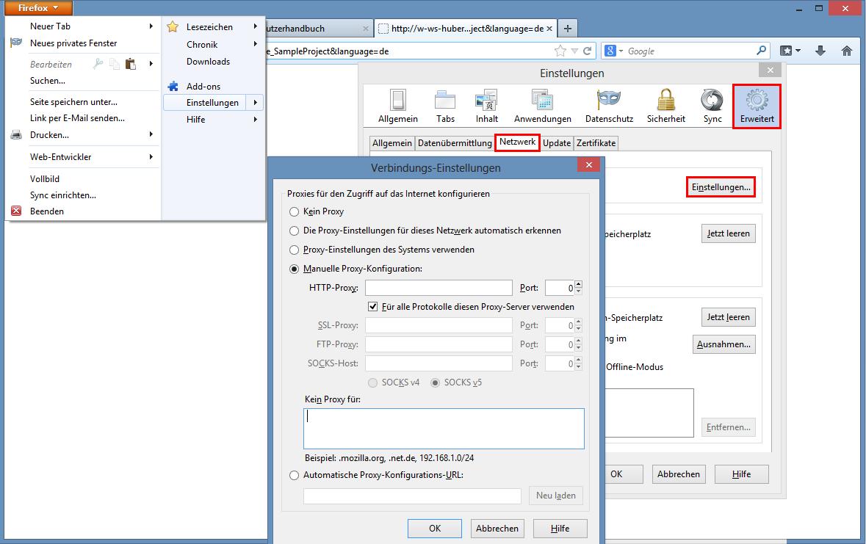 Konfiguration der Proxyserver-Einstellungen in Mozilla Firefox