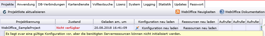 Ein WebOffice Projekte ist nicht verfügbar, weil benötigte Serverressourcen nicht vollständig initialisiert werden konnten