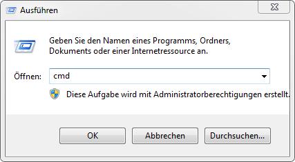 Startmenü > Ausführen > cmd